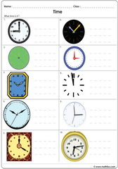 Time on analogue clocks worksheet 2