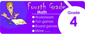 4th grade math worksheets, games, tests, quizzes, board games, card games