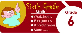 6th grade math worksheets, games, tests, quizzes, board games, card games