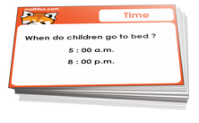 1st grade telling time and time daily applications card games for children in grade 1. PDF printable
