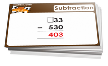 3rd grade subtraction cards - For math card games and math board games on third grade math