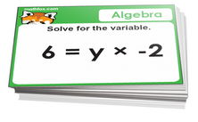4th grade math cards on algebra - For math board games