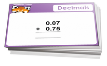 4th grade math cards on decimals - For math card games and math board games