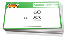 4th grade math cards on multiplication - For math board games