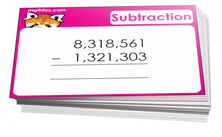 4th grade math cards on subtraction - For math card games and math board games