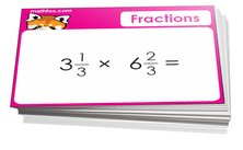 5th grade math cards on fractions review - For math board games