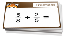 5th grade math cards on fractions - For math board games