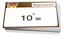6th grade math exponents cards - For math board games