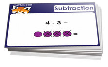 Kindergarten math cards on subtraction for math card games and math board games - PDF