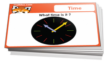 Preschool telling the time cards for math card games and math board games - PDF