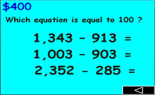4th grade subtraction PPT game - Millionaire jeopardy math PowerPoint classroom Game