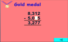 6th grade subtraction PPT games - Olympic jeopardy PowerPoint math games