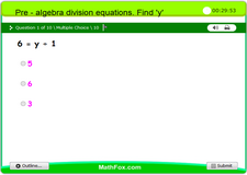 1 pre algebra division equations find y