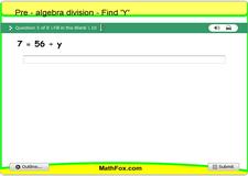 2 pre algebra division find y