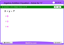 3 pre algebra addition equations find the value of y