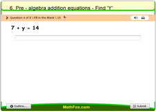 6 pre algebra addition equations find y