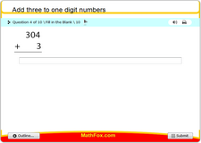 Add three to one digit numbers