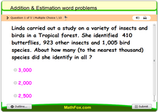 Addition estimation word problems