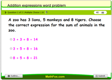 Addition expressions word problem