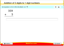 Addition of 3 digits to 1 digit numbers