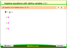 Algebra equations with define variable 2