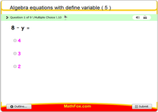 Algebra equations with define variable 5