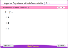 Algebra equations with define variable 6