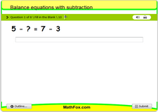 Balance equations with subtraction