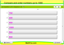 Compare and order numbers up to 1000