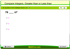 Compare integers greater than or less than