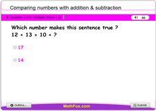 Comparing numbers with addition subtraction