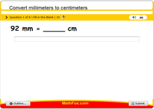 Convert millimeters to centimeters