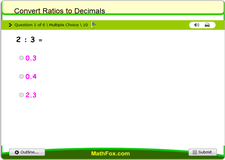 Convert ratios to decimals