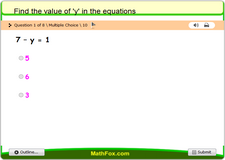 Find the value of y in the equations