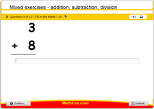 Mixed exercises addition subtraction division