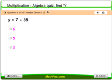 Multiplication algebra quiz find y 3