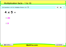 Multiplication facts 1 to 10