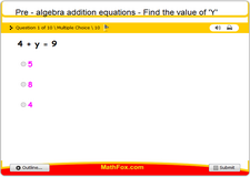 Pre algebra addition equations find the value of y 2