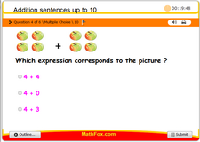 Addition sentences up to 10
