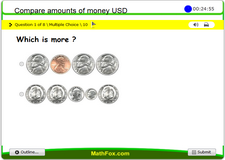 Compare amounts of money us dollars
