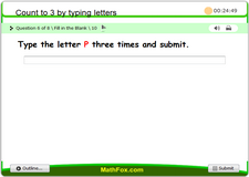 Count to 3 by typing letters