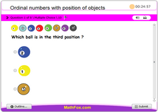 Ordinal numbers with position of objects