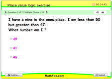 Place value logic exercise