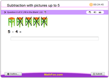 Subtraction with pictures up to 5