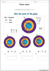 Place value exercise illustrated with arrows