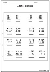 Addition of 3 4 and 5 digit numbers