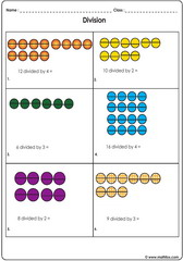 Division illustrated with dots