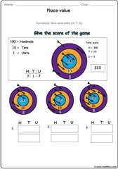 Place value exercise with arrows