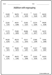 Addition of 5 and 4 digit numbers sheet2