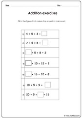 Addition balance equations